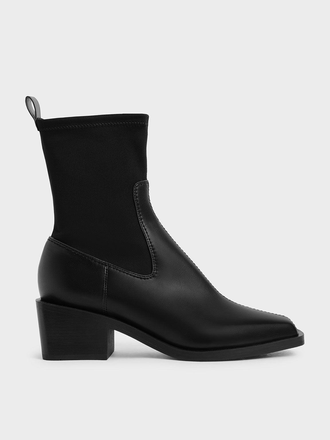 方頭拼接襪靴, 黑色, hi-res