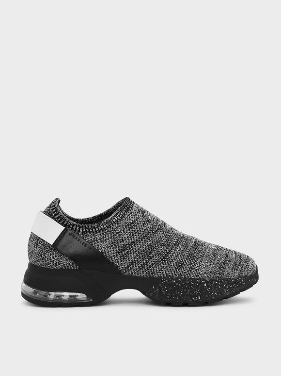 Knitted Sock Sneakers, Grey, hi-res