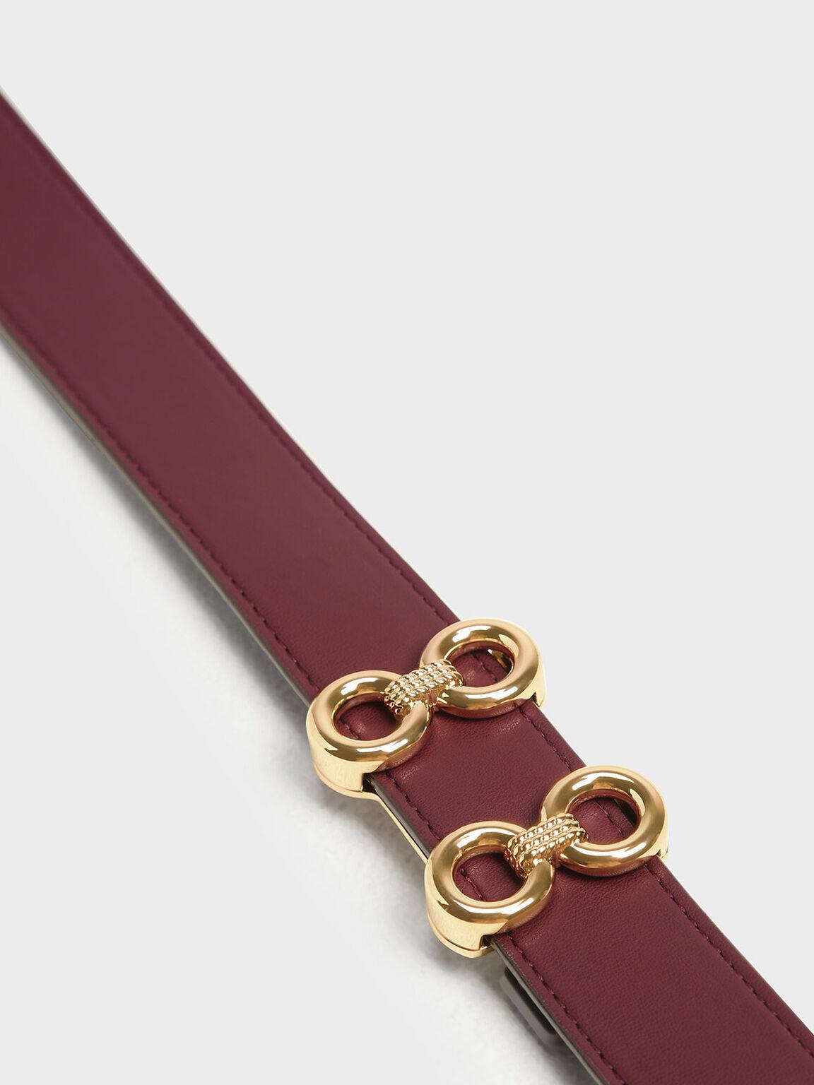 Double Buckle Belt, Burgundy, hi-res