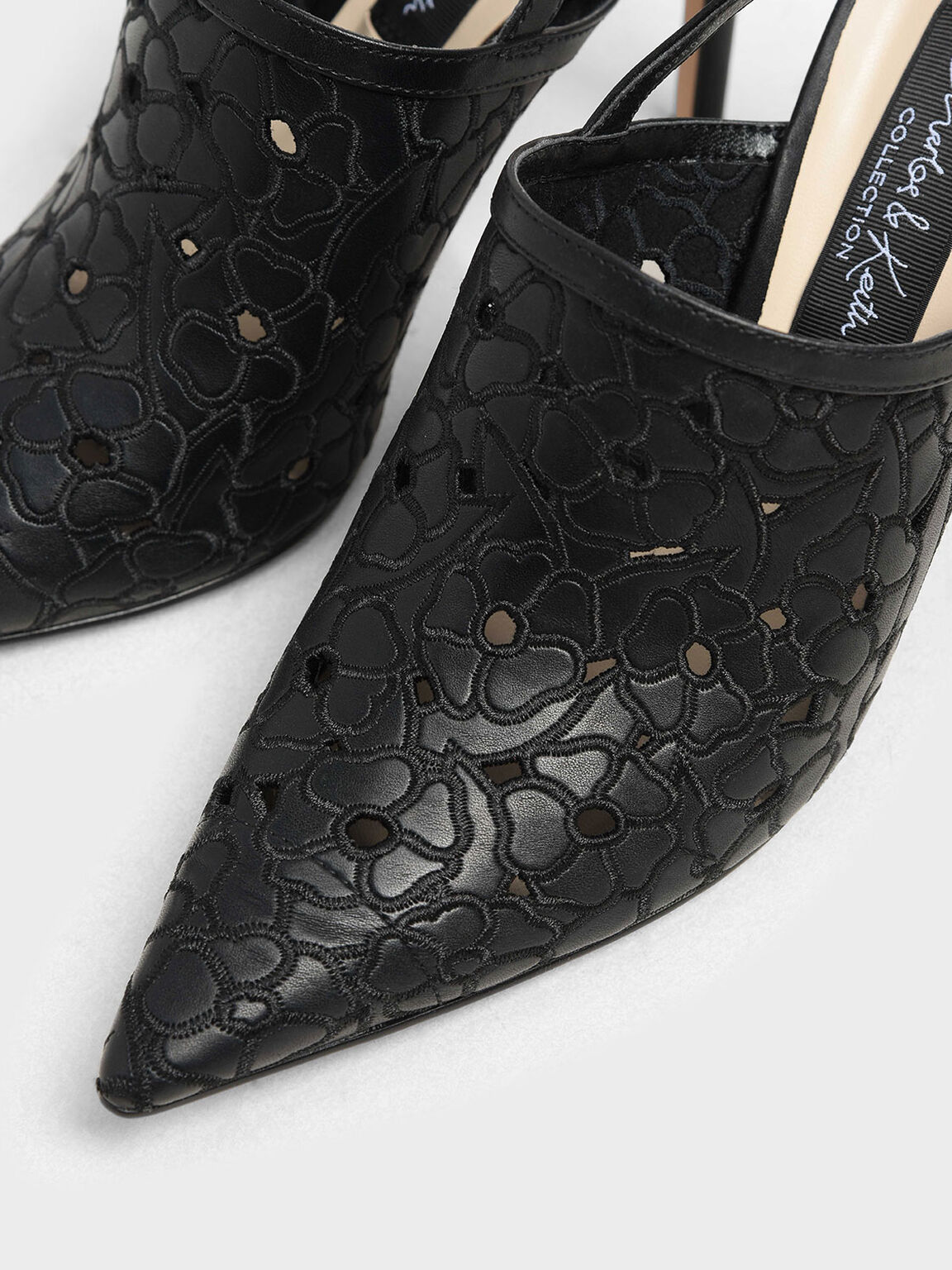 Floral Embroidery Slingback Heels, Black, hi-res