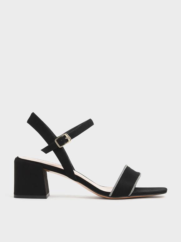 Thread Trim Textured Sandals, Black, hi-res