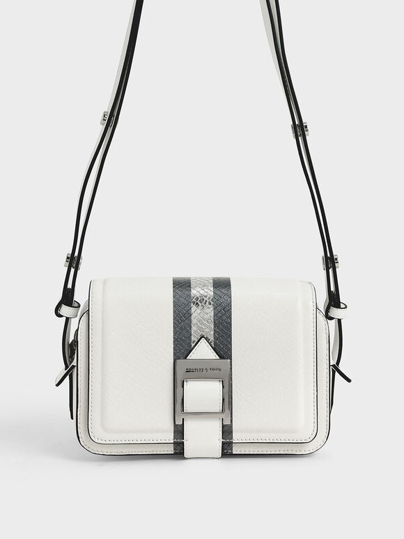 Buckle Strap Snake Print Shoulder Bag, White, hi-res