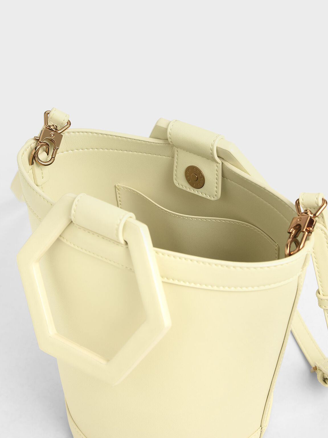 Geometric Handle Bucket Bag, Yellow, hi-res