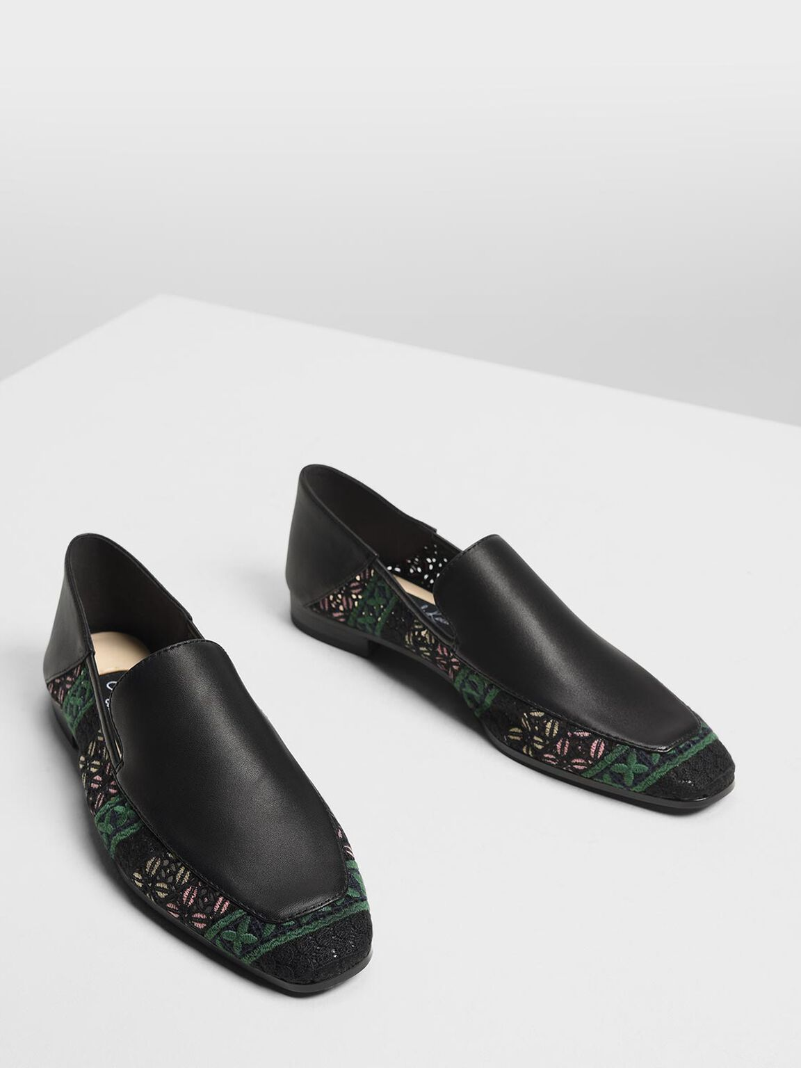 Crochet Leather Loafers, Multi, hi-res