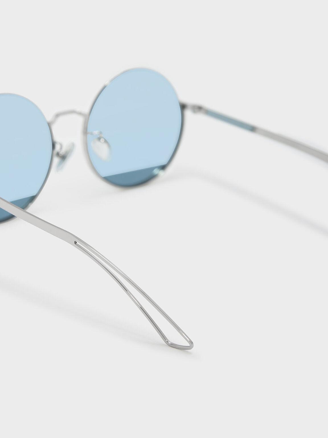 圓形半框墨鏡, 藍色, hi-res