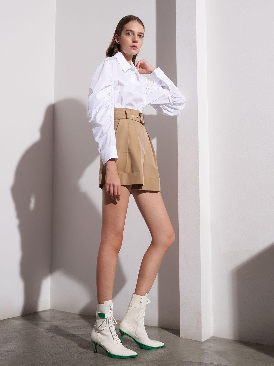 再生棉復古尖頭短靴, 白色, hi-res