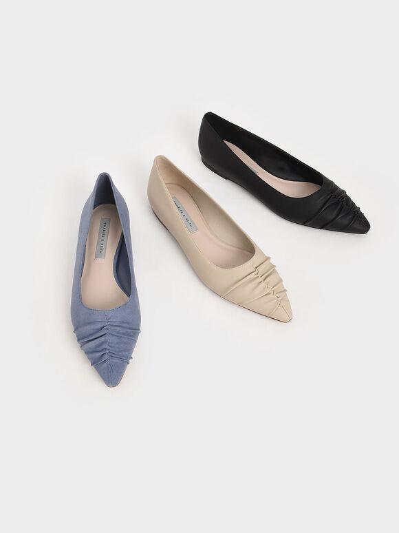 抓皺尖頭平底鞋, 藍色, hi-res