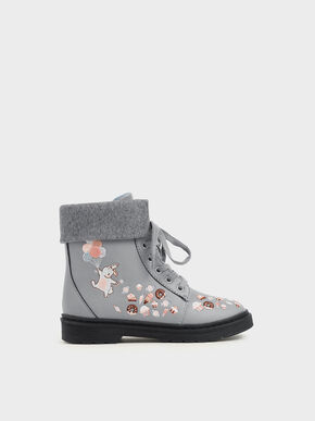 Girl's Furry Cuff Embroidered Ankle Boots, Light Blue