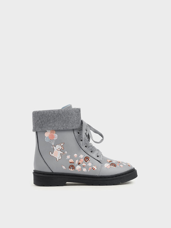 Girl's Furry Cuff Embroidered Ankle Boots, Light Blue, hi-res