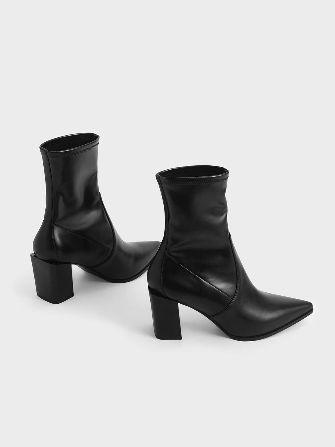 Stacked Heel Ankle Boots, Black, hi-res
