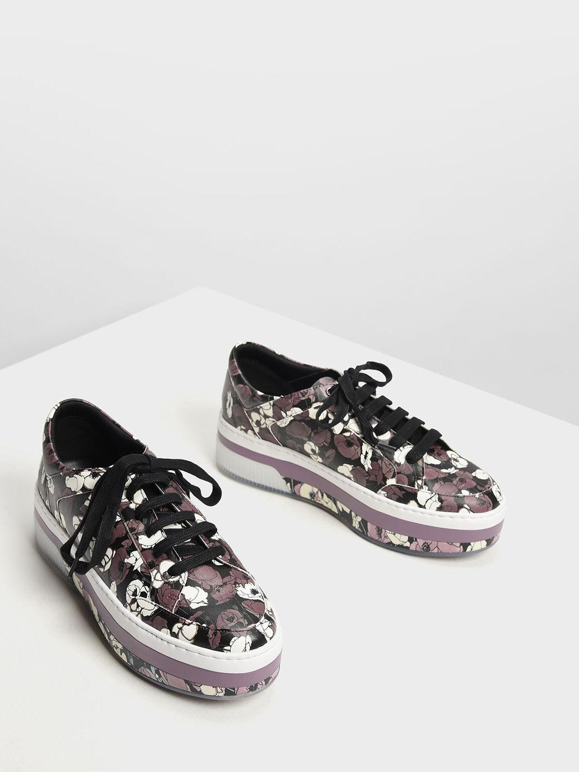 Printed Flatform Sneakers, Purple, hi-res