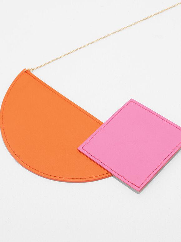 Geometric Shaped Necklace, Orange, hi-res
