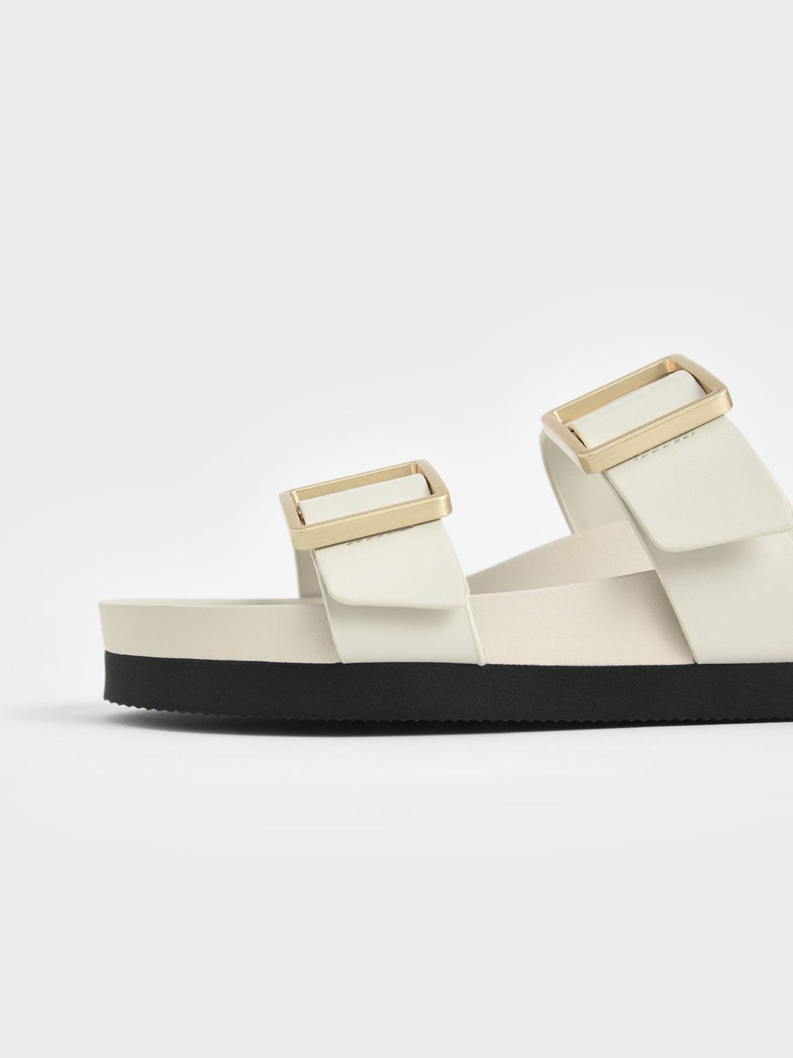 Buckle Strap Slide Sandals, Chalk, hi-res