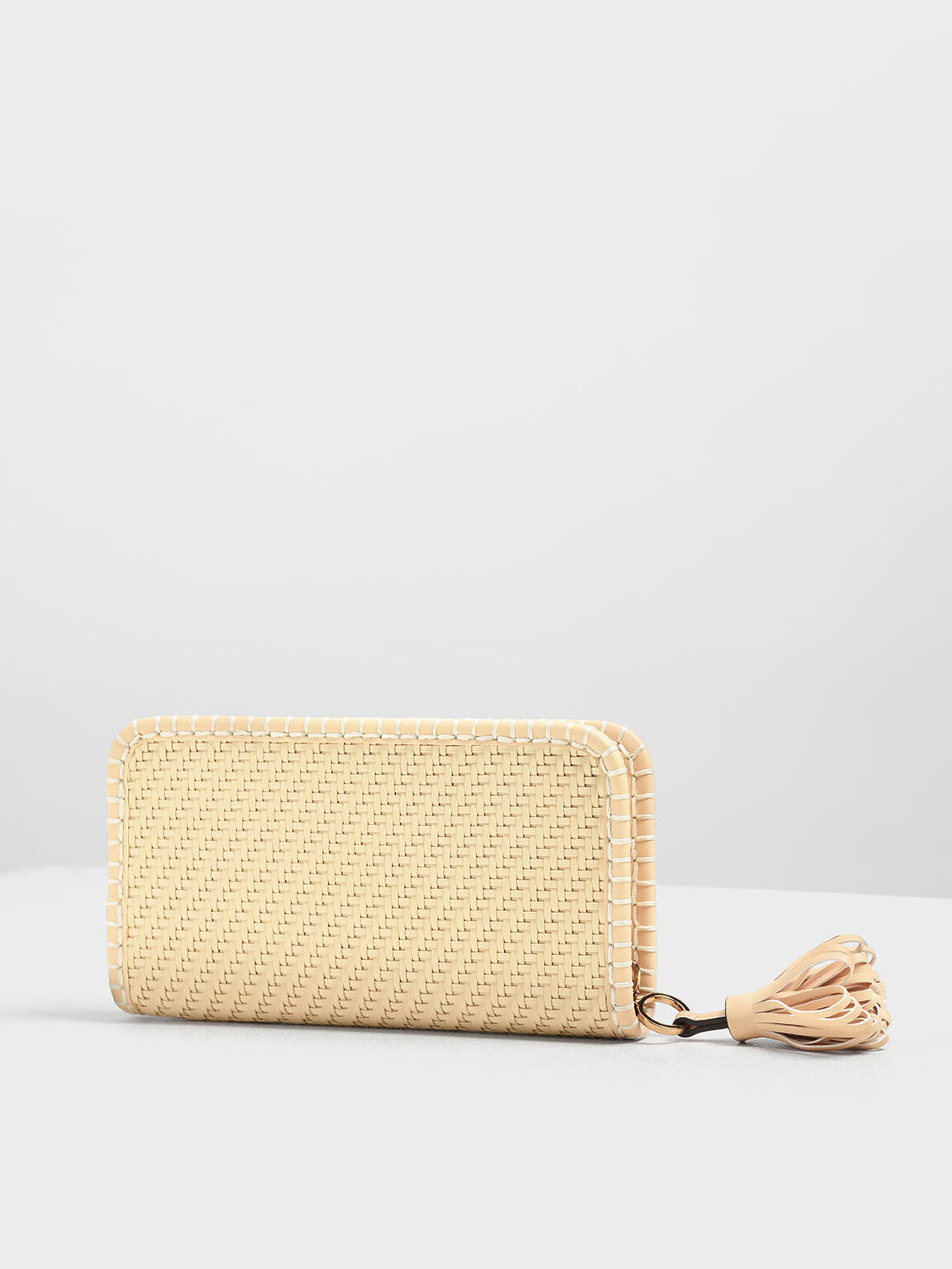 Woven Tassel Zip Around Wallet, Yellow, hi-res