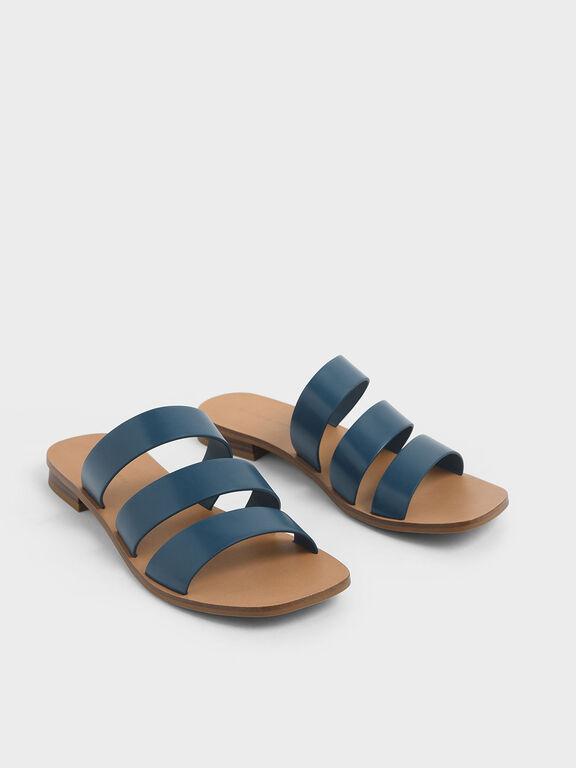 Tri-Strap Slide Sandals, Blue