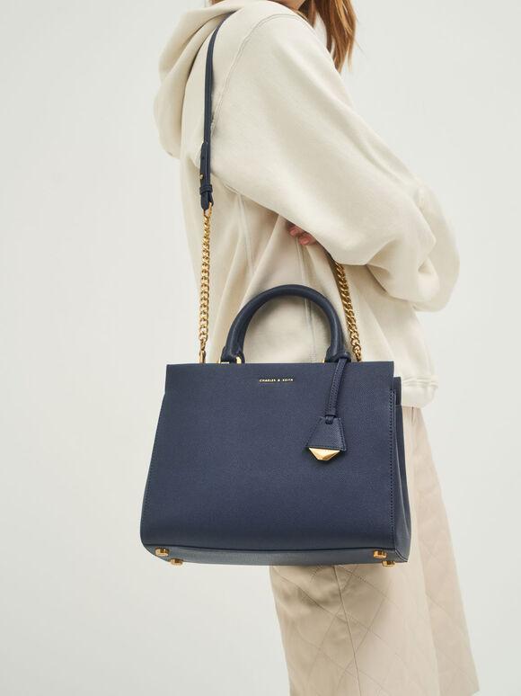簡約拉鍊手提包, 海軍藍, hi-res