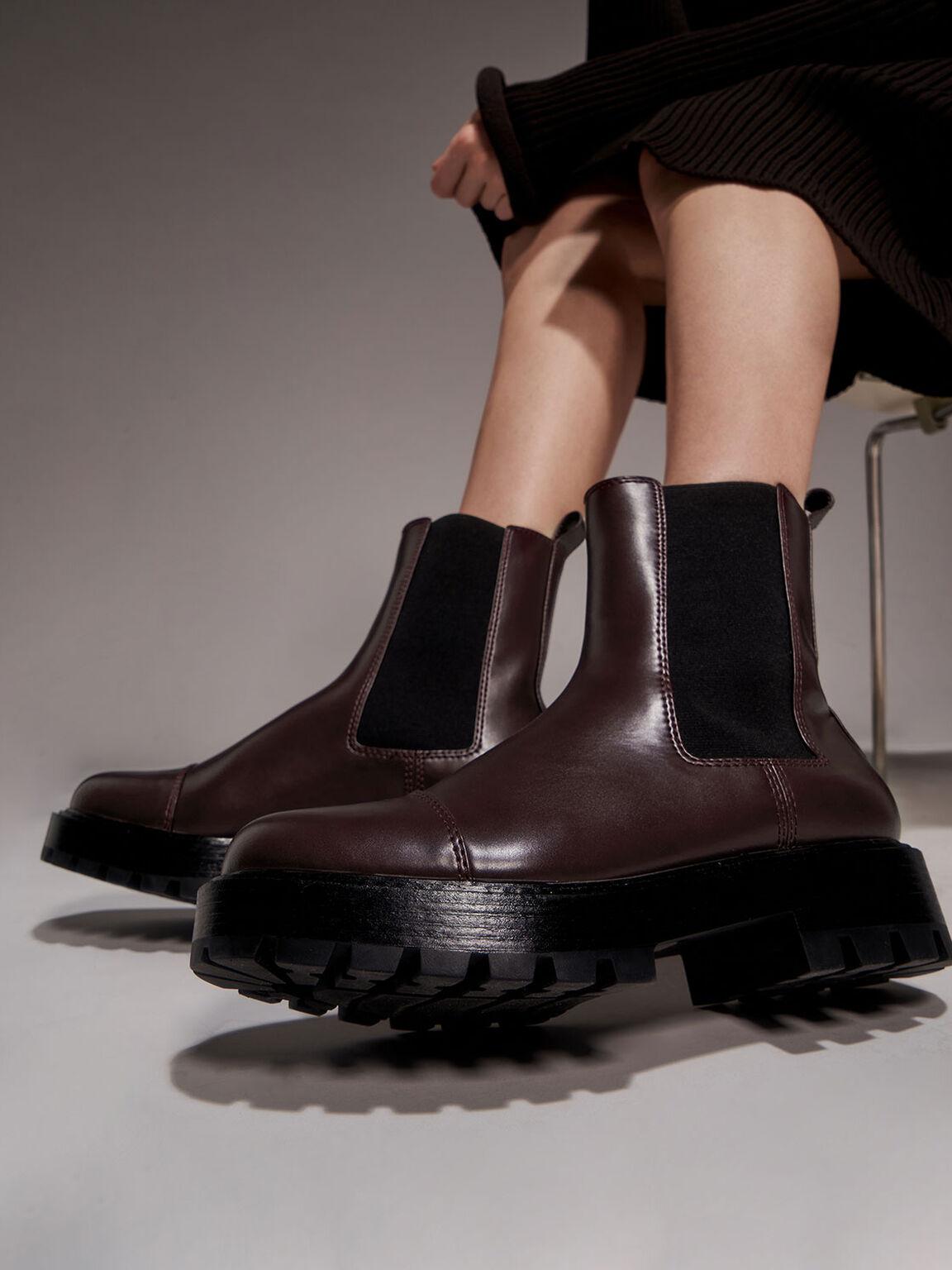 厚底切爾西短靴, 棗紅色, hi-res