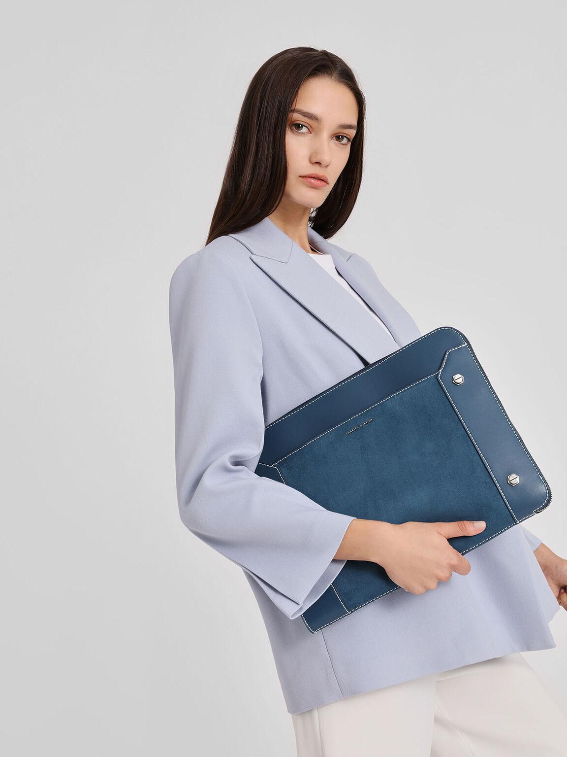 Stud Detail Laptop Bag, Blue, hi-res