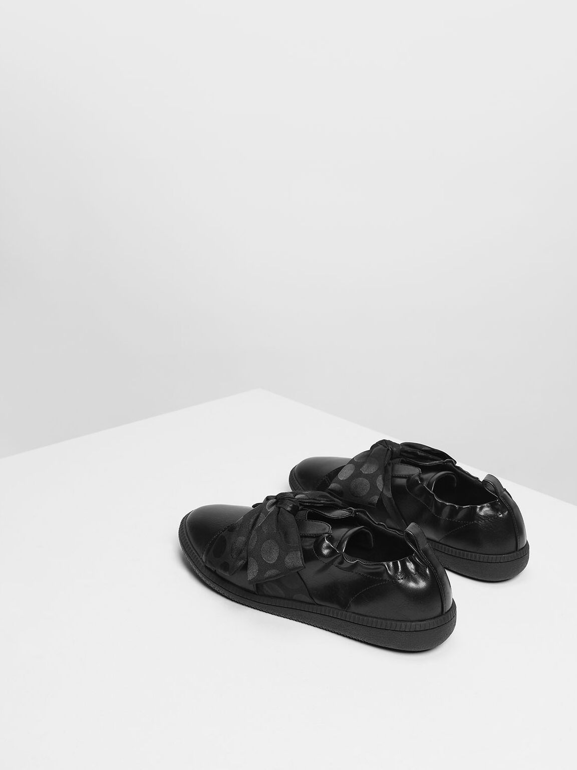 Knotted Bow Sneakers, Black, hi-res
