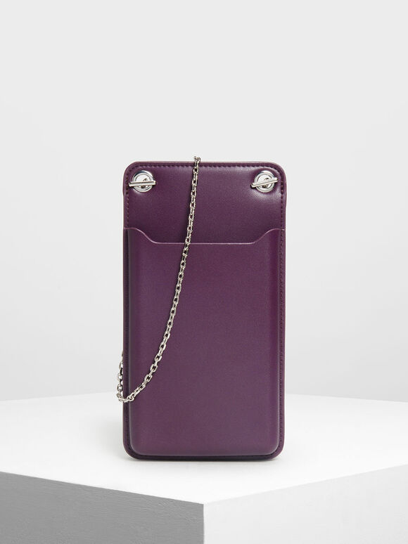 Eyelet Detail Pouch, Purple, hi-res