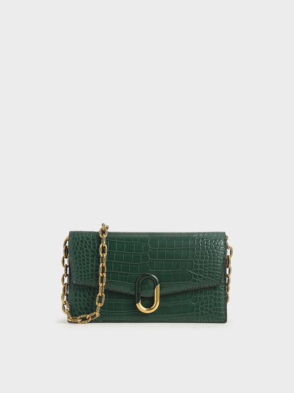 Croc-Effect Stone-Embellished Envelope Wallet, Green, hi-res