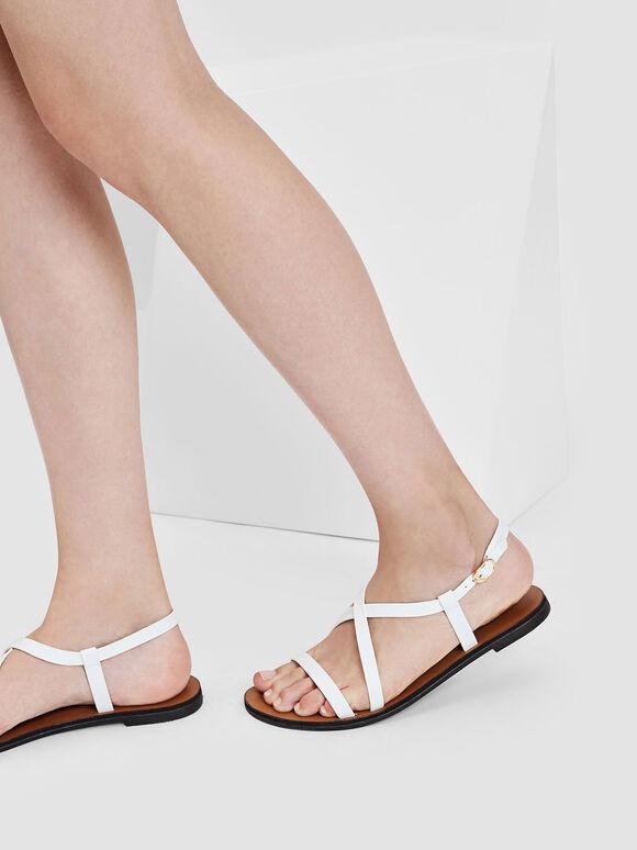Criss Cross Sandals, White, hi-res