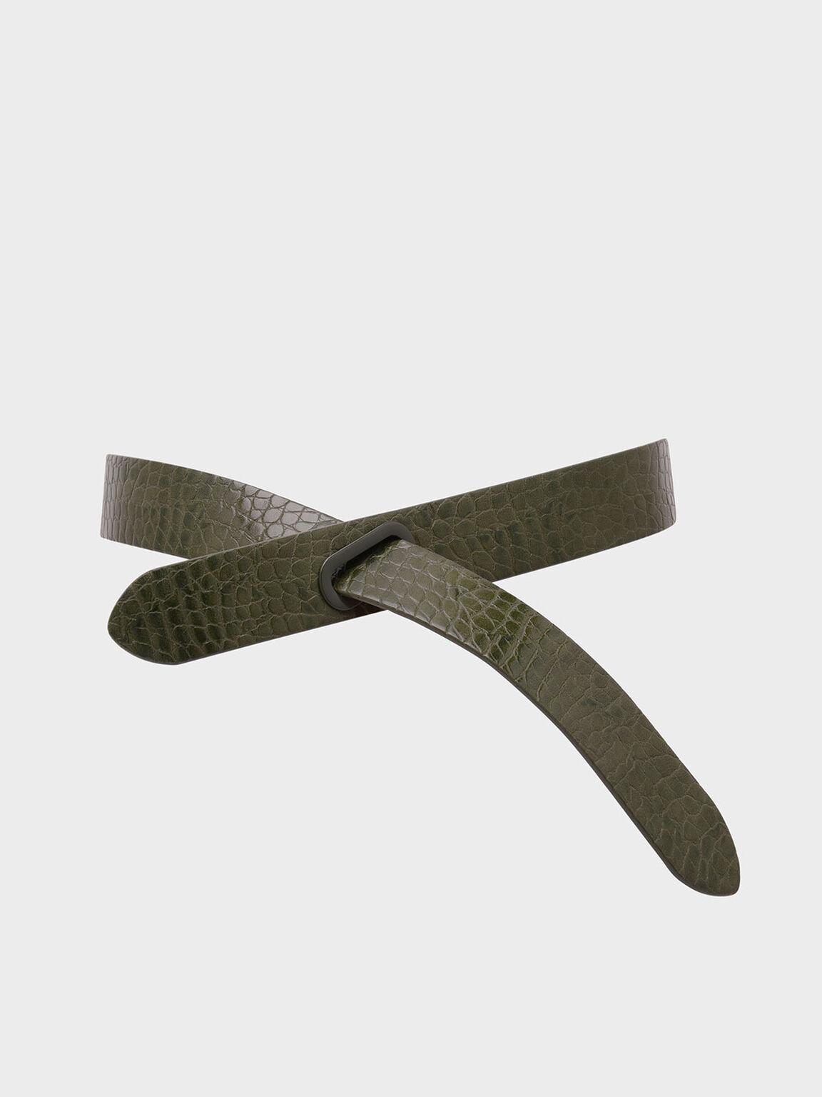 Croc-Effect Reversible Knot Belt, Olive, hi-res