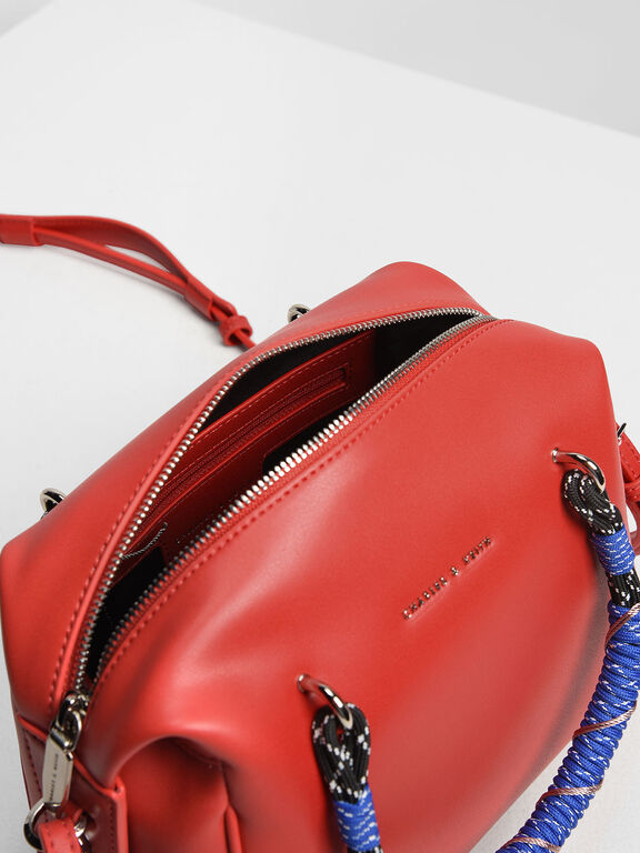 Nylon Twist Top Handle Bag, Red