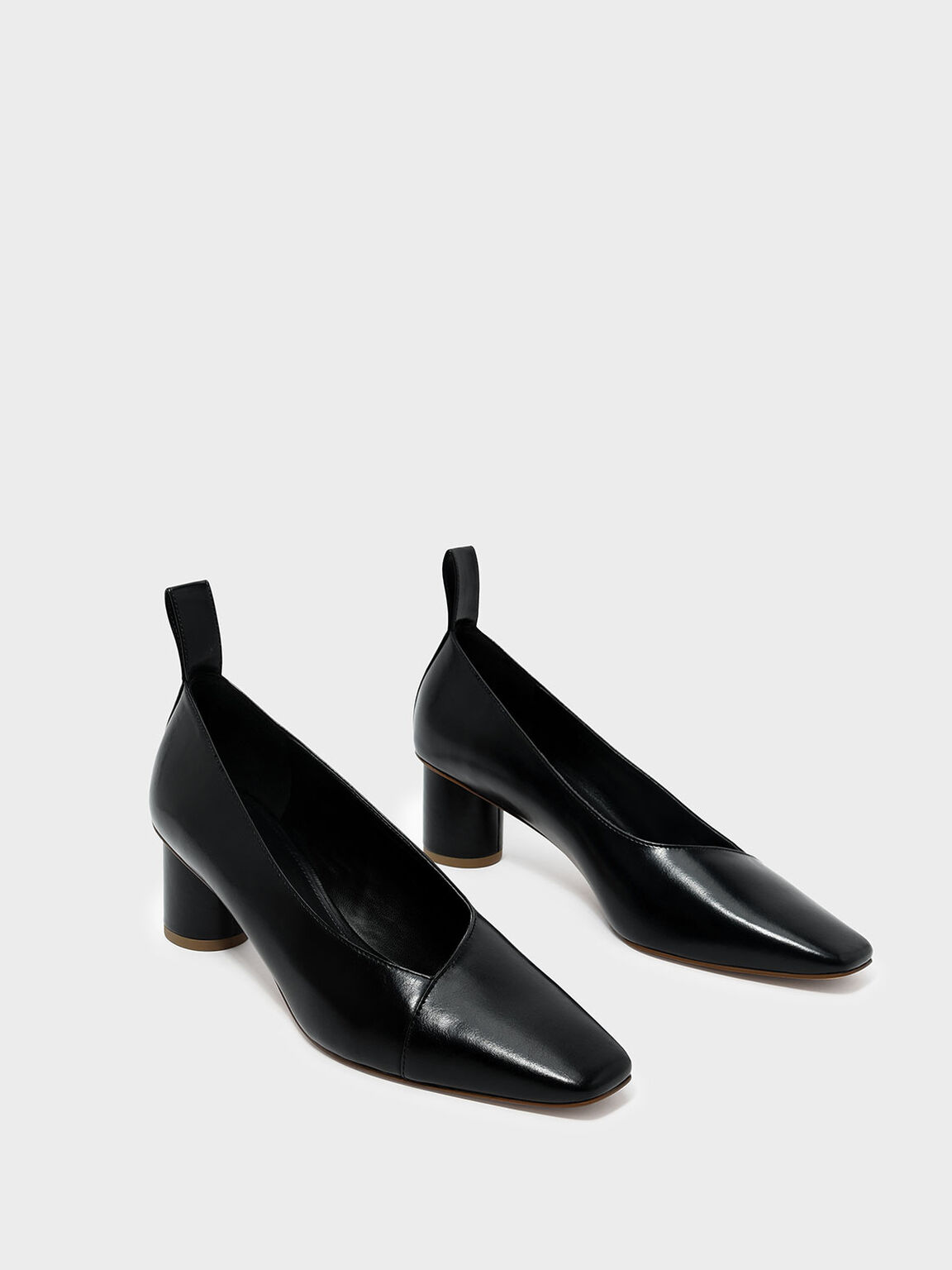 Asymmetrical Topline Pumps, Black, hi-res