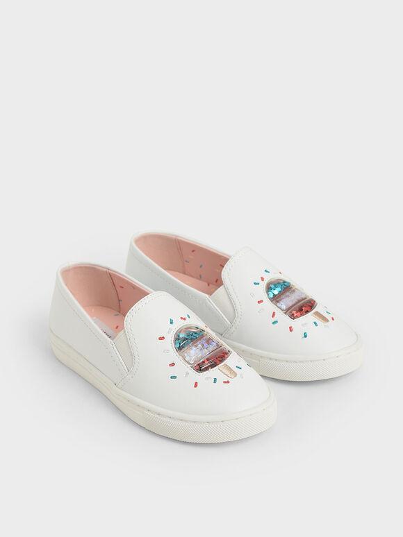 Girls' Rainbow Sprinkles Motif Sneakers, Cream, hi-res