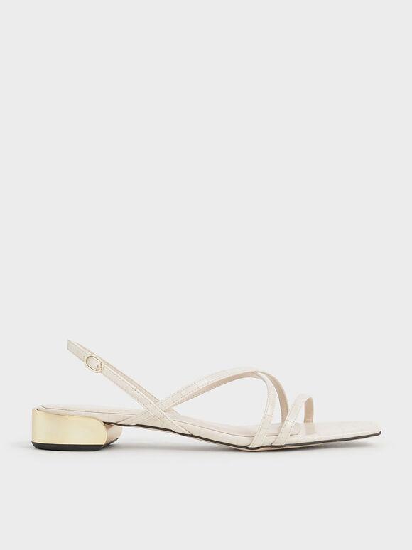 Metallic Accent Strappy Sandals, Animal Print White, hi-res