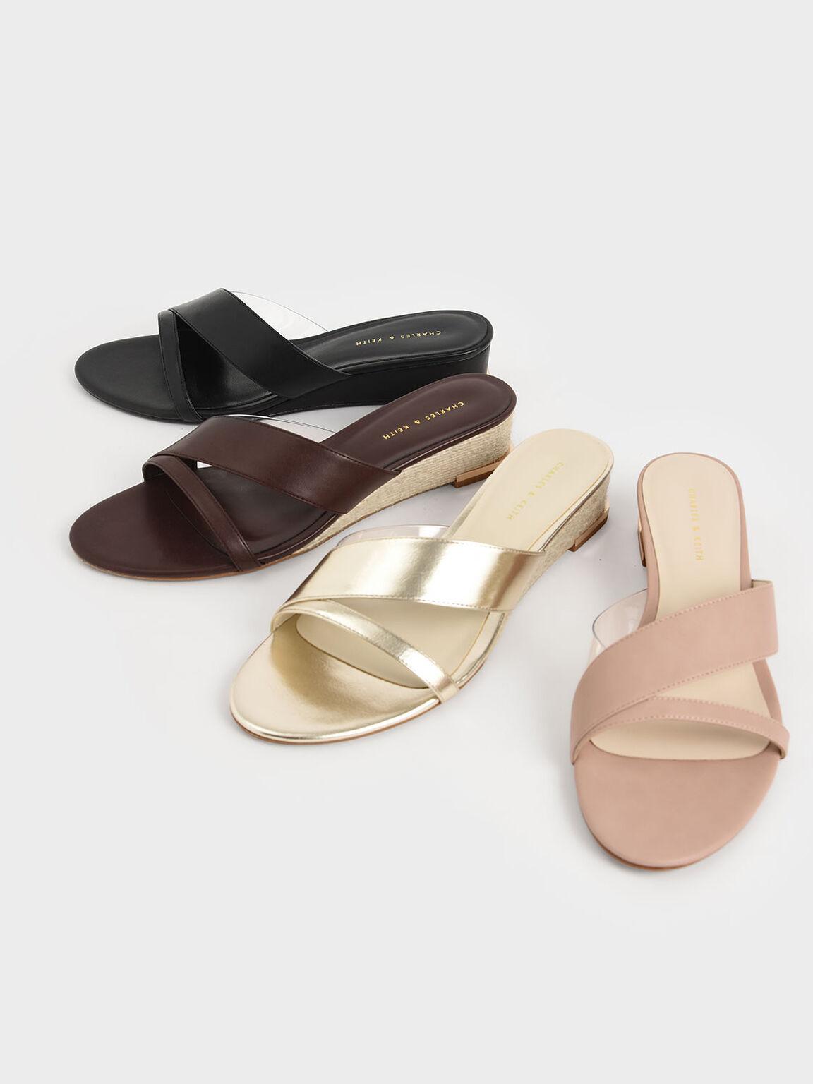 幾何帶楔型拖鞋, 黑色, hi-res