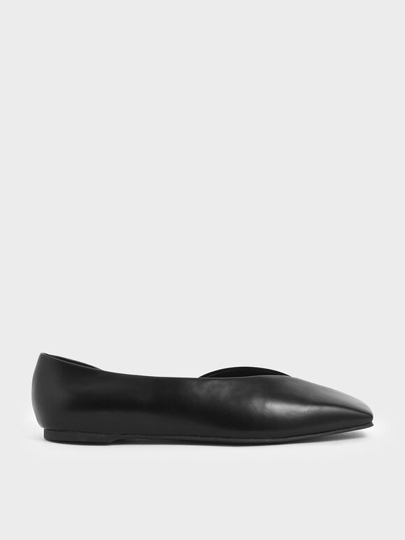 Textured D'Orsay Flats, Black, hi-res