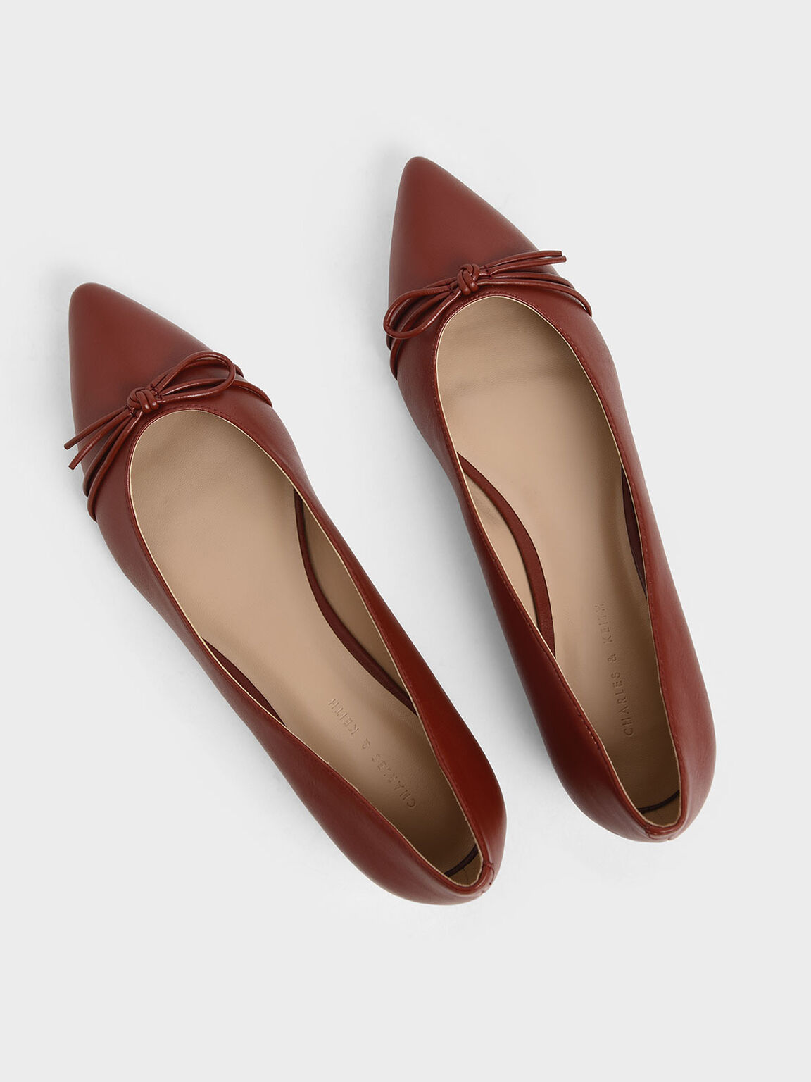 Ribbon Tie Ballerina Flats, Red, hi-res