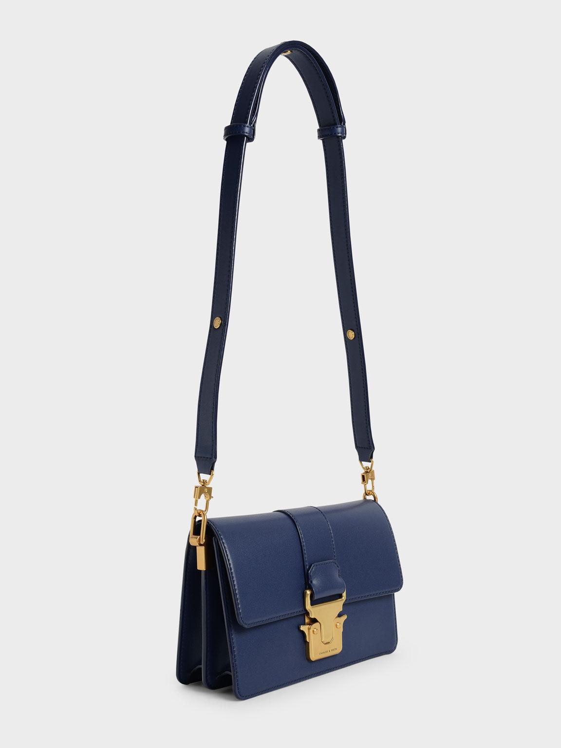 Metallic Accent Shoulder Bag, Navy, hi-res