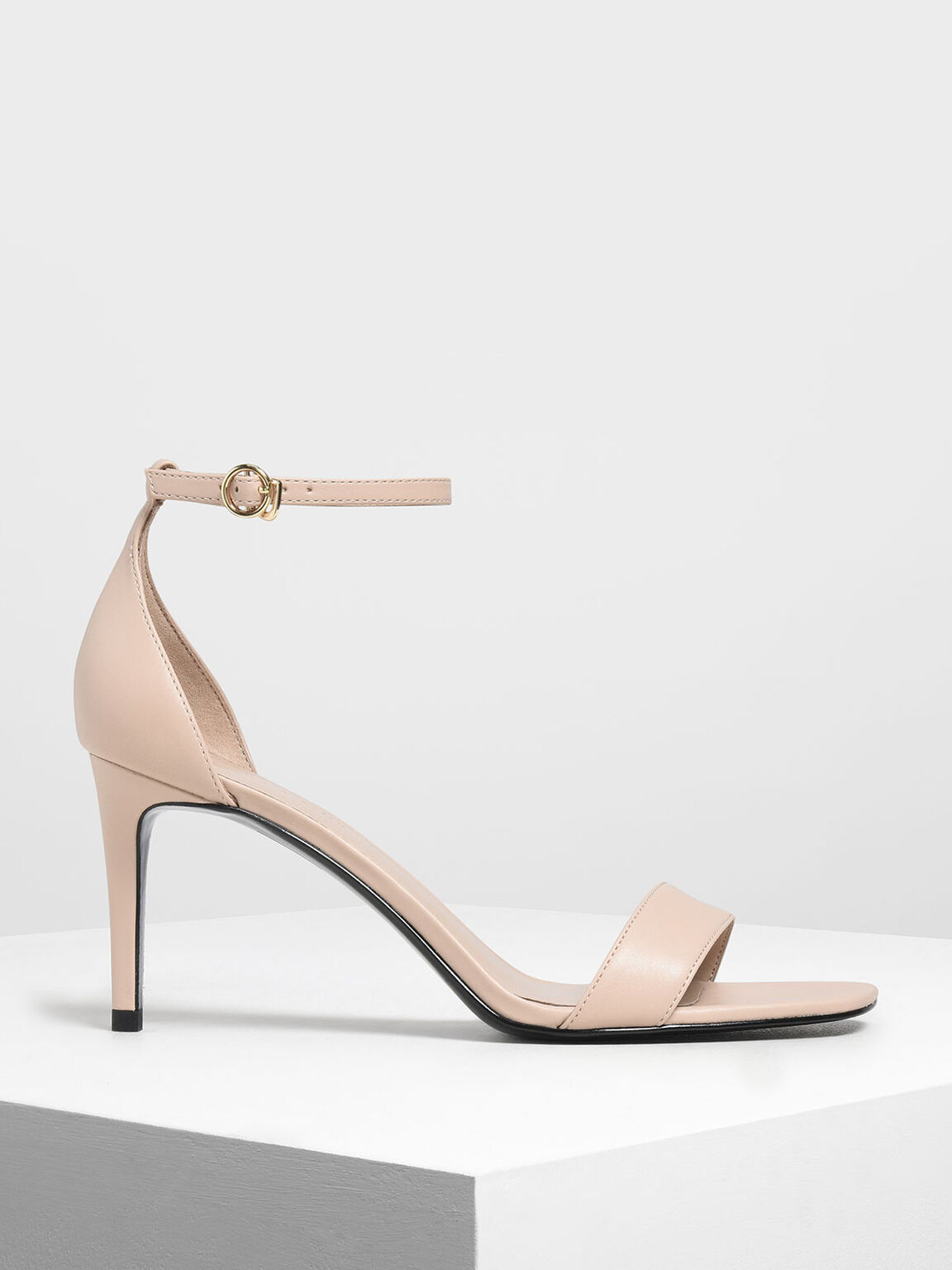 Classic Ankle Strap Heels, Nude, hi-res