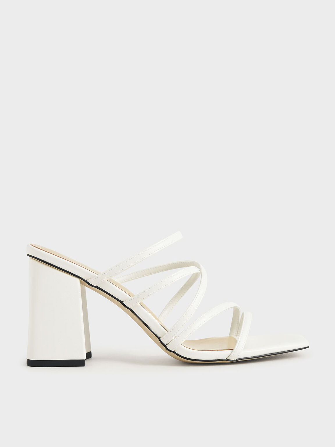 Strappy Chunky Heel Mules, White, hi-res