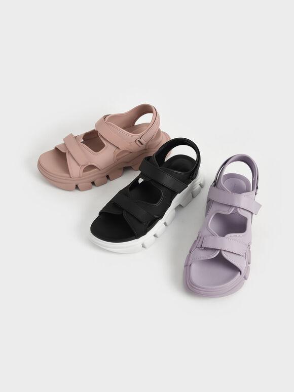 Chunky Sports Sandals, Black, hi-res