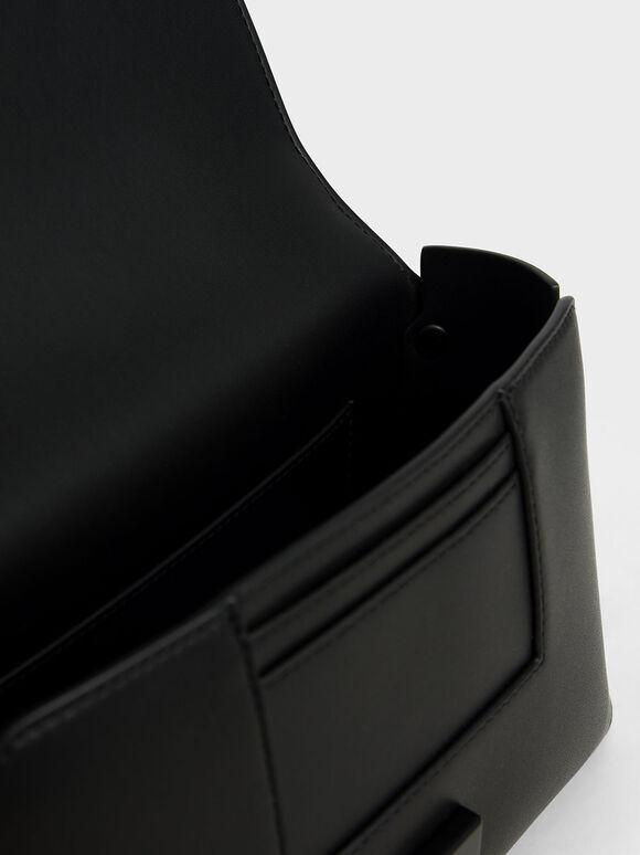 磚塊肩背鍊條包, 霧面黑, hi-res