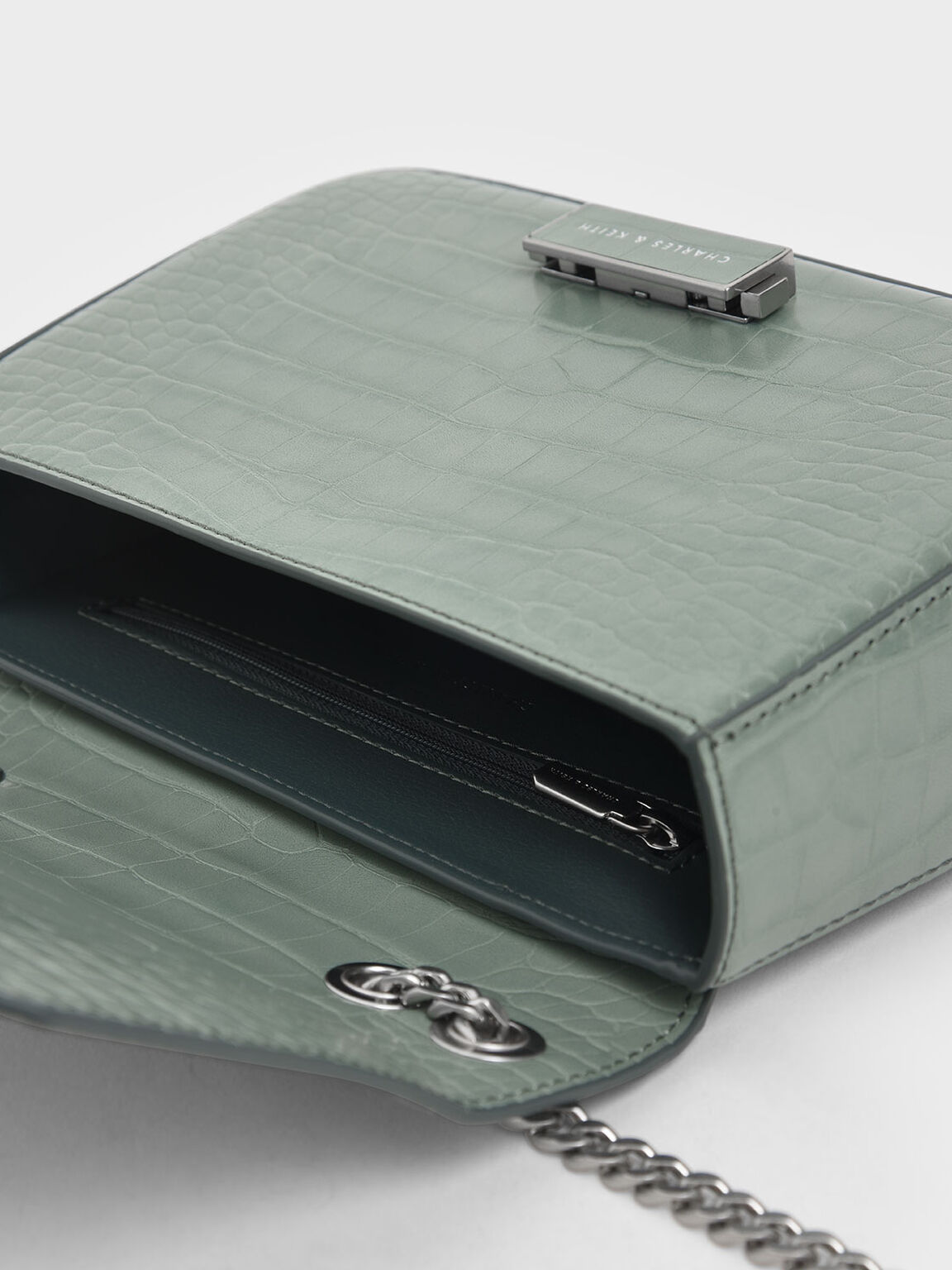Croc-Effect Structured Crossbody Bag, Sage Green, hi-res