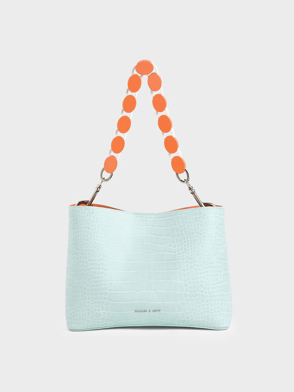 Croc-Effect Acrylic Handle Bucket Bag, Mint Blue, hi-res