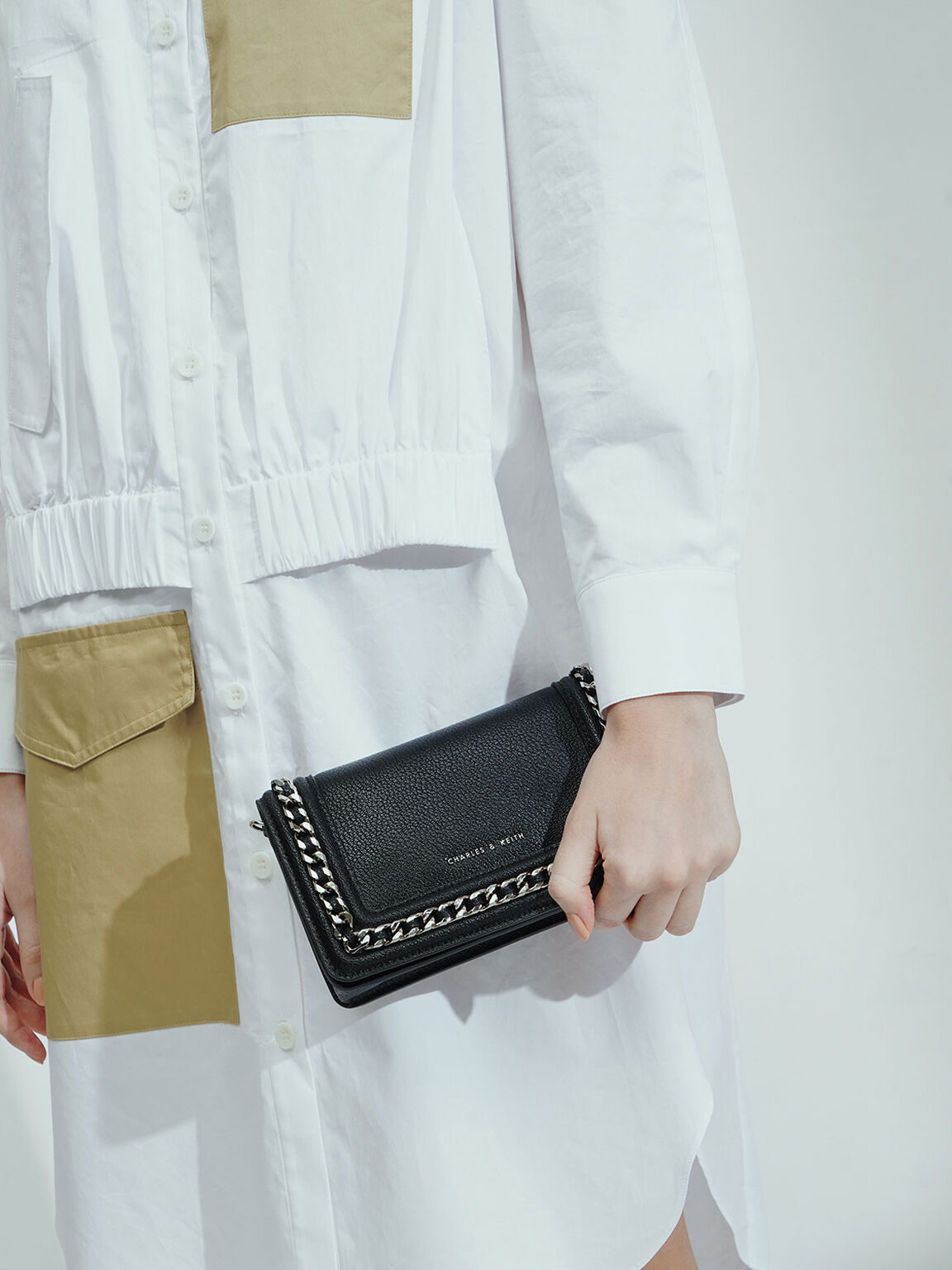 Chain-Trimmed Clutch, Black, hi-res