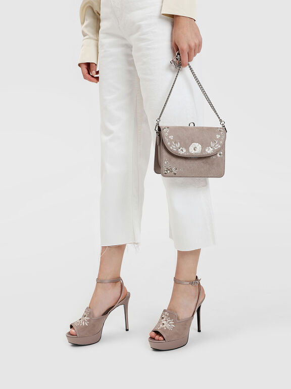 Embroidery Detail Platform Heels, Taupe