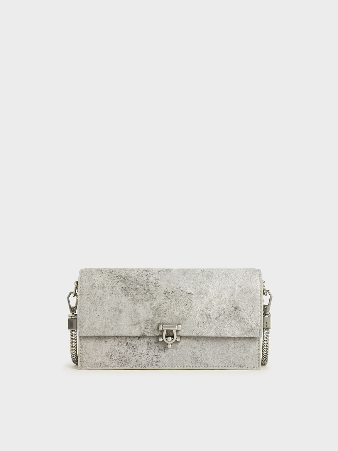 Metallic Accent Long Wallet, Grey, hi-res