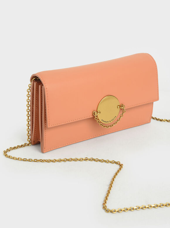 Metallic Push-Lock Wallet, Peach, hi-res