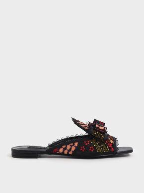 Floral Embroidered Mesh Slide Sandals, Multi, hi-res