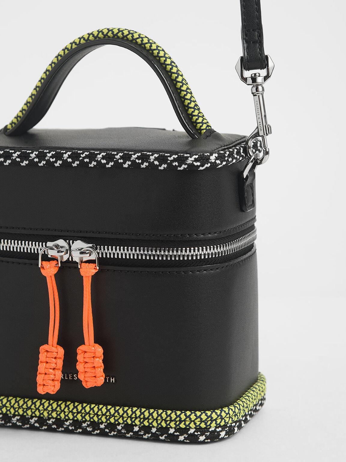 繩索拉鍊圓筒包, 黑色, hi-res