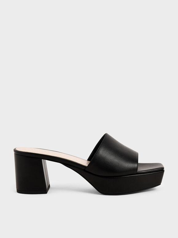 寬面厚底拖鞋, 黑色, hi-res