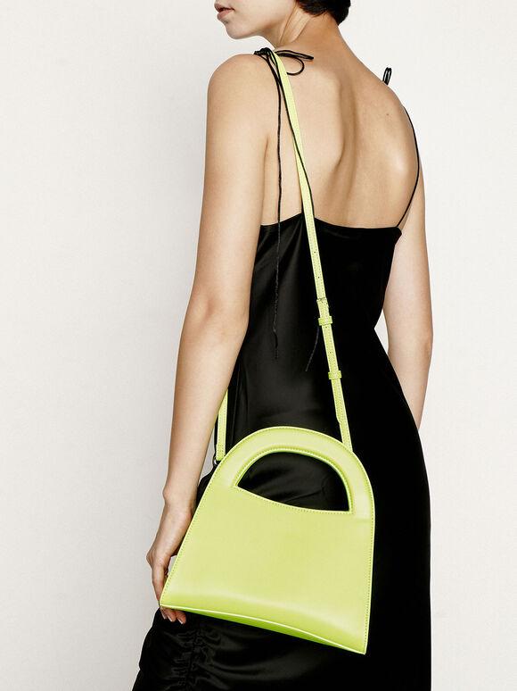 Double Top Handle Handbag, Neon Yellow, hi-res