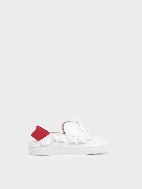 Girls' Frill-Trim Slip-On Sneakers, White, hi-res